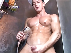Hunks (Gay);Masturbation (Gay);Muscle (Gay);HD Gays;In Shower Horny hunks in...
