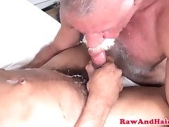 hairyandraw;gay;bareback;interracial;mature;silver;bear;blowjob;cumswallow;interacial;grandpa;masturbation;beard;gaysex;deepthroat,Bareback;Gay;Interracial;Bear;Mature Silver bear...