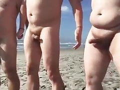 Amateur (Gay);Beach (Gay);Bear (Gay);Gangbang (Gay);Outdoor (Gay);Gay Cock (Gay) Waving dicks