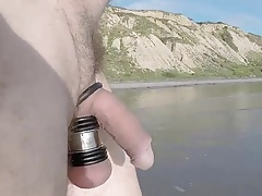 Men (Gay);Masturbation (Gay);Outdoor (Gay);At the Beach;Dripping Dripping cock at...